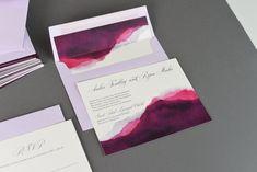Mountain Dusk Wedding Invitation Set - Watercolor Art Work - Pink and Purple - Watercolor Wedding Invitations Suite - Painted Invites Set Watercolor Wedding Invitations, Wedding Invitation Sets, Invites, Dusk, Watercolor Art, Art Work, Mountain, Purple, Unique Jewelry
