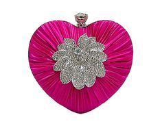 FUCHSIA PINK SATIN HEART CLUTCH BAG WITH DIAMANTE DESIGN, £11.00