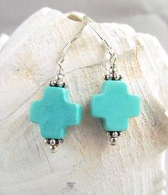 Turquoise Cross Earrings Handmade by Harleypaws OOAK by Harleypaws, $10.00