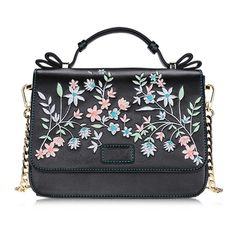Black Floral Print Cross Body Bag (925 DOP) ❤ liked on Polyvore featuring bags, handbags, shoulder bags, floral purse, floral handbags, floral crossbody, crossbody purses and cross-body handbag
