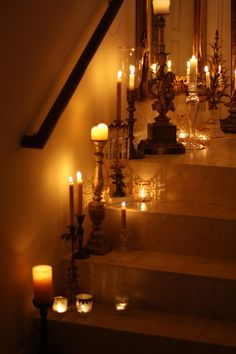Candleglow bathes every step...a staircase of curiousity is welcoming with the golden candle lit ambiance.