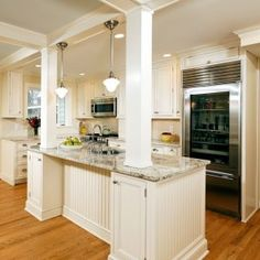 one structural column in kitchen island | For the Home | Pinterest ...