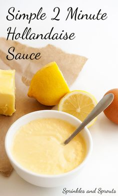 2 Minute Hollandaise Sauce. A rich and buttery sauce with the mild tang of lemon juice. Perfect for Eggs Benedict or for serving with vegetables.