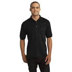 Gildan DryBlend 6-Ounce Jersey Knit Sport Shirt with Pocket. 6-ounce, 50/50 cotton/poly DryBlend moisture-wicking properties Heat transfer label Contoured welt collar and welt cuffs 3-button clean-finished placket with reinforced bottom box Wood-tone buttons Single-needle left chest 5-point pocket Double-needle bottom hem