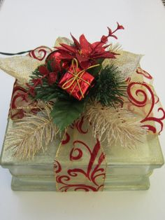 Decorative Gold Glass Block with red and gold by MagicalBlocksbyK, $40.00
