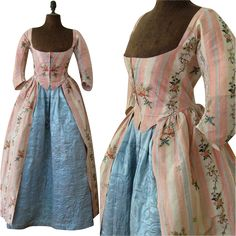 Robe a l'Anglaise & Quilted Petticoat c.1780 Antique Silk Brocade Dress. The robe is made of pink and white striped silk brocade. Closure is center front with hook and eye, lining is cotton, hem facing is china silk. The skirt is attached with knife pleats at the sides and back.