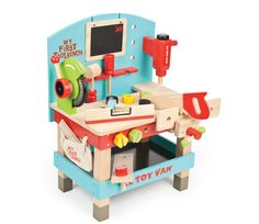 The My First Tool Bench Set from the Le Toy Van painted wooden playsets range. A fun, brightly painted wooden tool bench complete with powertools. All Toys, Toys For Boys, Kids Toys, Van Kitchen, Best Educational Toys, Tool Bench, Vans Kids, Imaginative Play, Storage Shelves