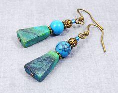 Bohemian earring, Boho Jewelry, Stocking Stuffer Gift for women, Gift for her, Bronze dangle earring, Gemstone earrings, Turquoise earring by CervelleDoiseau on Etsy