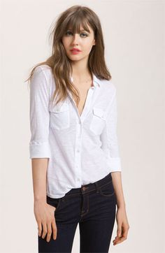 James Perse Button Front Jersey Shirt available at #Nordstrom. So pretty and classy