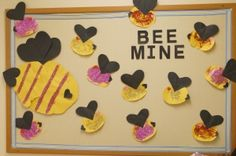 "For a perfect Valentine's Day classroom bulletin board, you can create adorable ""Bee Mine"" bees. Click through for instructions, and let your preschoolers' creativity run wild! A great idea for fun teachers."