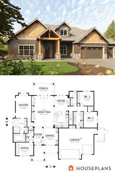 Craftsman Style House Plan   3 Beds 2.50 Baths 2735 Sq/Ft Plan #48 542