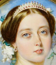 Queen Victoria wearing the Strawberry Leaf Ruby and Diamond tiara designed by Prince Albert