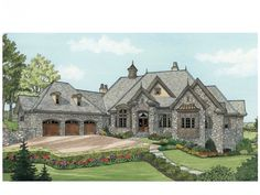 European House Plan with 6155 Square Feet and 4 Bedrooms from Dream Home Source   House Plan Code DHSW075742