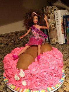 Bachelorette party cake. Barbie cake, penis cake