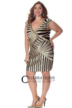 9afb87d459888 Stop traffic in a sexy sequin plus size cocktail dress. Comfy metallic knit  fabric. Sydney s Closet