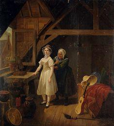 """Maid lacing a woman into her corset,"" Constantinus Fidelio Coene, 1820-1825; location unknown"