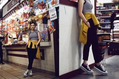 Pxkin - H&M Yello Blazer, Converse Creeper, H&M Harem Pants, Pacsun Crop Top - Funky at the market