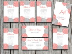 Wedding Seating Chart Template | Chrysanthemum Gray Beach Coral Orange Microsoft Word Template Table Number Card Wedding Download by PaintTheDayDesigns on Etsy, $20.00
