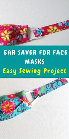 Learn how to sew ear savers in minutes with this easy sewing project. Ear savers protect your ears from getting chaffed and sore while wearing face masks for long hours. All you need is a fabric scrap and two buttons for this easy DIY sewing tutorial. Diy Sewing Projects, Sewing Hacks, Sewing Tutorials, Sewing Crafts, Fabric Scrap Crafts, Sewing Ideas, Tapas, Easy Face Masks, Diy Couture