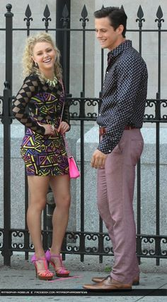 On August 20, 2013 AnnaSophia  Robb and her co-star Jake Robinson seen on the set of their TV series 'The Carrie Diaries' season 2 in New York City