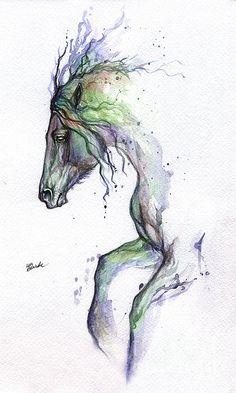 Rainbow Horse Painting by Angel  Tarantella