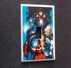 Thor Spiderman Captain America Comic Light Switch Plate Cover Bedroom Wall Decor