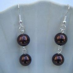 Boucles d'oreilles perles en verre marrons - créabijoux lolo - bijoux fantaisies
