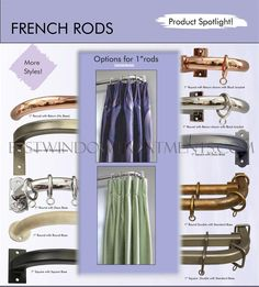 "French Custom Curtain Rod 1"" Iron Curtain Rod - extra long available; made in the USA 