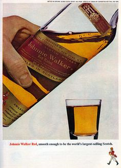 1974 Ad Johnnie Walker Red Label Scotch Whisky Happy Birthday Song Candles Happy Birthday