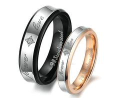 Engagement Couple Rings lovers rings Titanium Steel Promise Ring Couple Wedding ring Free Engraving