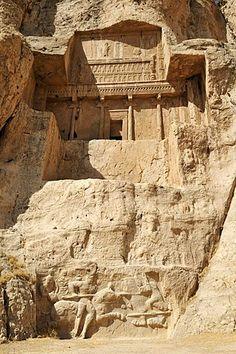 Royal tomb of King Artaxerxes I., Achaemenid burial site Naqsh-e Rostam, Rustam near the archeological site of Persepolis, UNESCO World Heritage Site, Persia, Iran, Asia