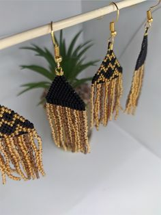 Hand-made, designed and beaded by myself using only the finest Japanese glass delica beads and nylon thread.. with love & care. Native Beadwork, Native American Beadwork, Fringe Earrings, Beaded Earrings, Beautiful Earrings, Hand Stitching, Dangles, Unique Jewelry, Handmade Gifts