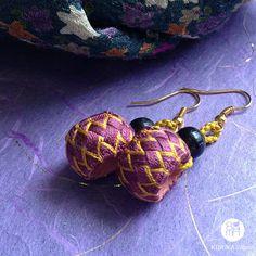 zig zag unique handmade purple & yellow colour by kinukaJapan
