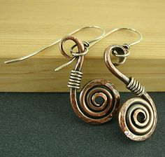 Copper Swirl Earrings Sterling Silver by handmadebywendyladyk
