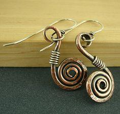 Copper Swirl Earrings Sterling Silver by handmadebywendyladyk