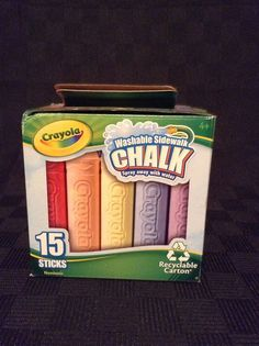 NIB Crayola Sidewalk Chalk 15 Sticks Washable Non Toxic Kids Fun Outdoors #Crayola
