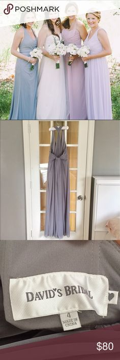 Bridesmaid Dress Size 4 Davids Bridal floor length gown in grey. Side zipper and clasp. Beautiful racer back detailing and draping in the front. Very light weight for a summer wedding. David's Bridal Dresses Wedding