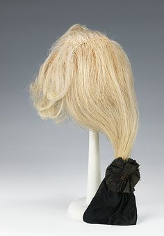 Wig. 1780–1800. French. silk, metal, linen, leather, horsehair. Brooklyn Museum Costume Collection at The Metropolitan Museum of Art
