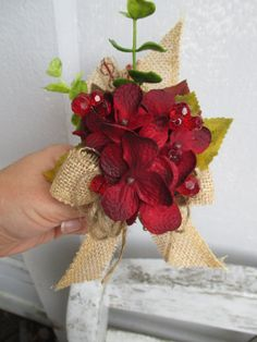 Deep Red Corsage Shabby Country Chic with Burlap Silk Flower for Wedding or Baby Shower
