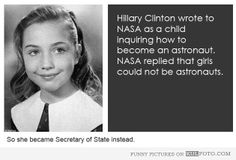 "Hillary Clinton wanted to be an astronaut - Old photo of Hillary Clinton as a kid and fun fact about her: ""She wrote to NASA as a child inqu..."