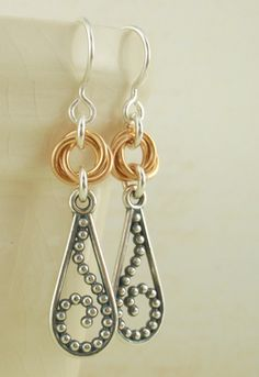 Sterling Silver and 14kt Gold Filled Beaded Scroll in a Pear Earrings. $30.00, via Etsy.