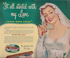 Matt's cousin Jenna gave us her old Lane cedar hope chest recently. I plan to refinish and reupholster it, and make it a window seat in our library room. Love this old Lane ad.