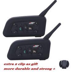 2016 New! 2 pcs 6 Riders V6-1200M BT Interfone Motorcycle Helmet Bluetooth Intercom Walkie Talkie Headset Extra Clip as Gift!