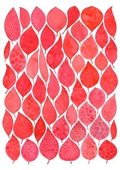 A mod artwork of leaves painted in autumnal berry tones. Natalie Ryan