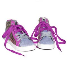 Kick your wardrobe into high gear with these fab hi top sneakers. Cool gray jersey with bright purple color-blocking and groovy multi-colored glitter combine for a look that packs a punch from LittleMissMatched.
