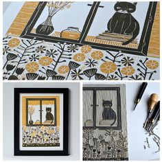 Cat's Life ~ Linocut Reduction ~ Andrea Lauren