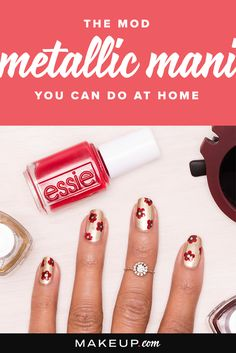 Try this simple floral metallic manicure for a festive nail look that will look great all holiday season.