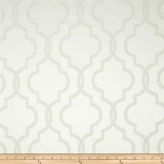 Rockland Quatrefoil Satin Jacquard Snow White from @fabricdotcom  Refresh any home decor with this medium weight satin jacquard fabric. This fabric is an appropriate weight for window treatments such as draperies, curtains and swags also perfect for accent pillows and table top.