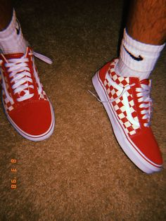 a8a26feea0b Old Skool checkered (red) vans, follow me for more Aesthetic Shoes, Red