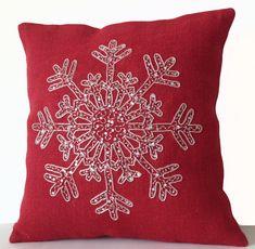 Red Burlap Pillows -Christmas Pillow -Snowflake -Red Throw Pillow Cover -Christmas Cushion -Silver Sequin Snow Pillows -18x18 -Bedding -Gift